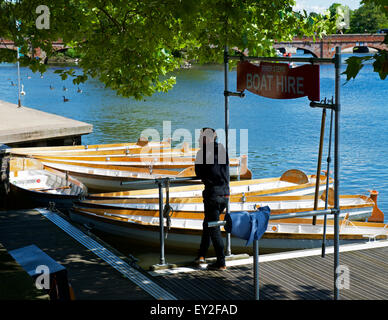 Rowing boats for hire on the River Avon, Stratford upon Avon, Warwickshire, England UK - Stock Photo