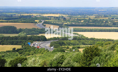 M40 Motorway Passing through the Chiltern Hills in Southern Oxfordshire, England - Stock Photo