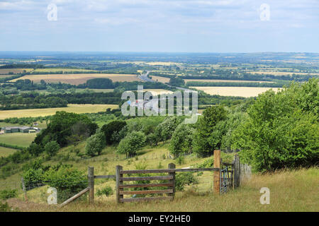 M40 Motorway Passing through the Chiltern Hills in Rural England - Stock Photo