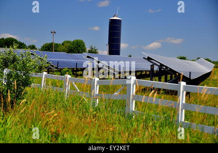 Connecticut:  Rows of solar panels soak up the sun at a Solar Energy Farm on a countryside road  * - Stock Photo