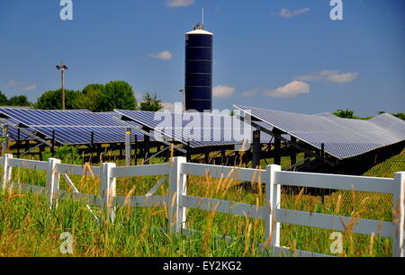Connecticut::  Rows of solar panels soak up the sun at a Solar Energy Farm on a countryside road   * - Stock Photo
