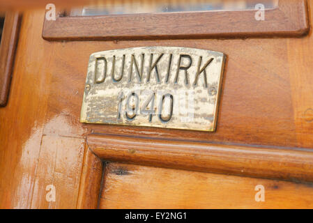 Brass plaque on a Dunkirk little ship at the Thames Traditional Boat Festival, Fawley Meadows, Henley On Thames, - Stock Photo