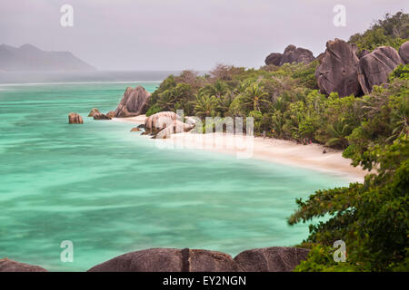 Long exposure high angle view of the famous Anse Source D'Argent in La Digue, Seychelles - Stock Photo