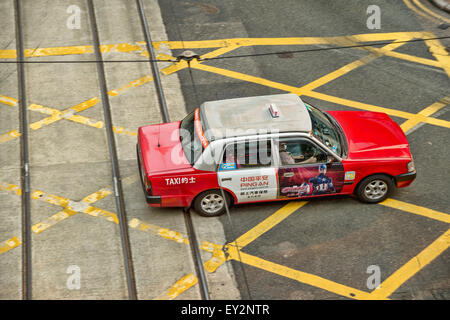 Hong kong taxi in central district - Stock Photo