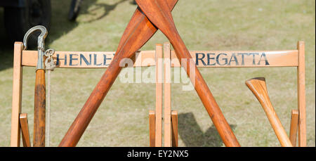 Henley Regatta wooden deck chairs and oars at the Thames Traditional Boat Festival, Fawley Meadows, Henley On Thames, - Stock Photo