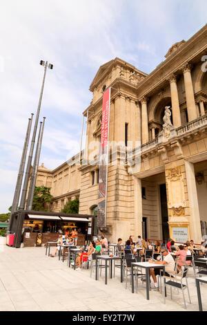 People at the cafe, Museu Nacional d'Art de Catalunya ( National Art Museum of Catalonia ), Barcelona, Spain Europe - Stock Photo
