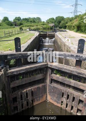 Lock gates on Rochdale Canal near Oldham, Lancashire - Stock Photo