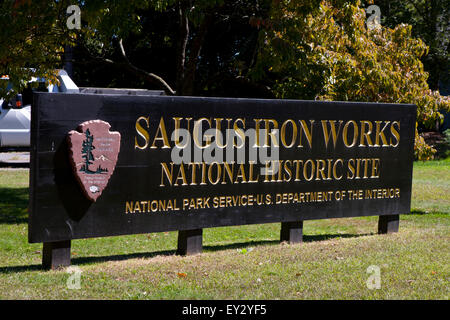 Saugus Iron Works National Historic Site sign, Saugus, Massachusetts, United States of America - Stock Photo