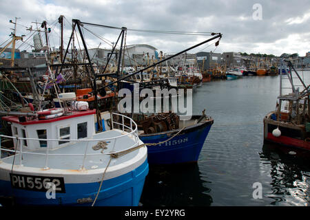 Commercial Fishing vessels moored in Sutton Harbour Plymouth by the fish market, - Stock Photo