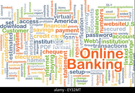 Background concept wordcloud illustration of online banking - Stock Photo