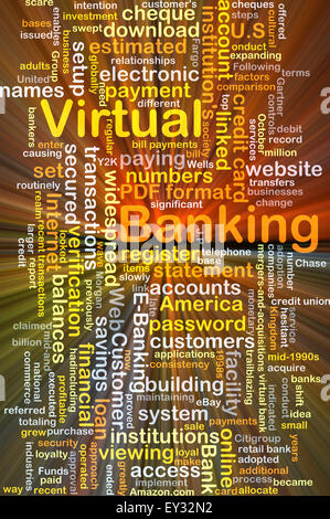 Background concept wordcloud illustration of virtual banking glowing light - Stock Photo