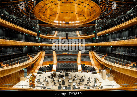 Overall view of grand concert hall. National Polish Radio Symphony Orchestra (NOSPR), Katowice, Poland. Architect: - Stock Photo