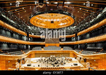 Overall view of grand concert hall. National Polish Radio Symphony Orchestra (NOSPR), Katowice, Poland. Architect: - Stock Photo