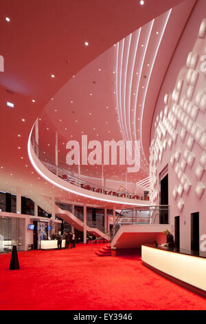 Large foyer on two floors with decorative light installation, Stage Theater an der Elbe, Hamburg, Germany - Stock Photo