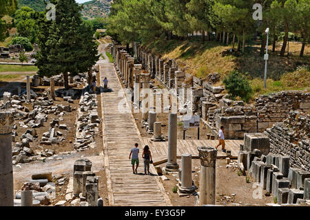 Part of the market square and Agora at Ephesus, the Greek and Roman Empire city remains near Selcuk, Kusadasi in - Stock Photo
