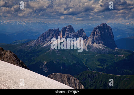 Sassolungo Massif as seen from Punta Rocca, the summit of the Marmolada Cable Car, Dolomites, Italy - Stock Photo