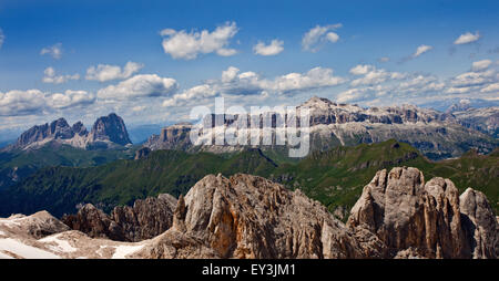 Sassolungo and Sella Massif as seen from Punta Rocca, the summit of the Marmolada Cable Car, Dolomites, Italy - Stock Photo