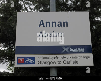 Annan Railway Sign, Dunfries & Galloway,Scotland,UK - Stock Photo