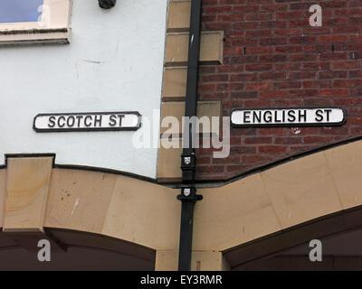 Streets in Carlisle named English or Scottish, Cumbria, England, UK - Border Country - Stock Photo