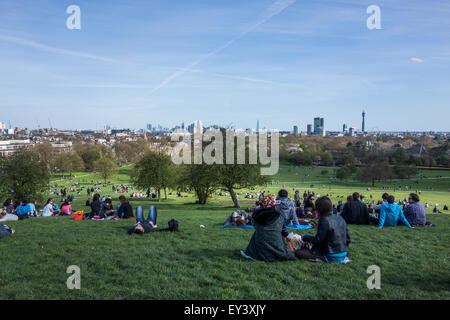 view from Primrose Hill, Regent's Park towards central London, UK - Stock Photo