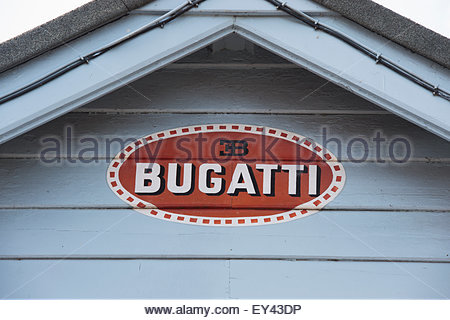 Hand Painted Bugatti sign at Brooklands, Weybridge, Surrey, England - Stock Photo