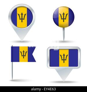 Map pins with flag of Barbados - vector illustration - Stock Photo