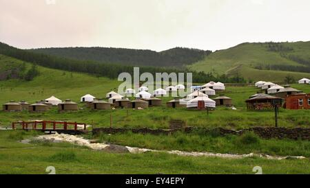 Mongolian Yurts near capital town Ullanbaator in Mongolia - Stock Photo