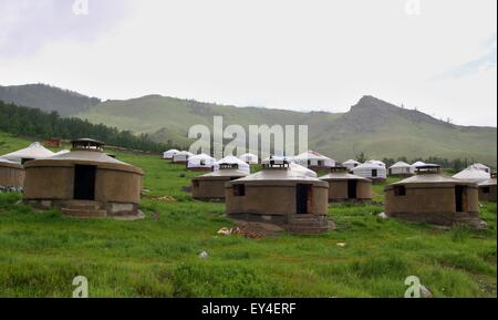 new construction of the jurts near capital town Ullanbaator in Mongolia - Stock Photo