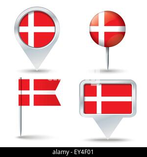 Map pins with flag of Denmark - vector illustration - Stock Photo