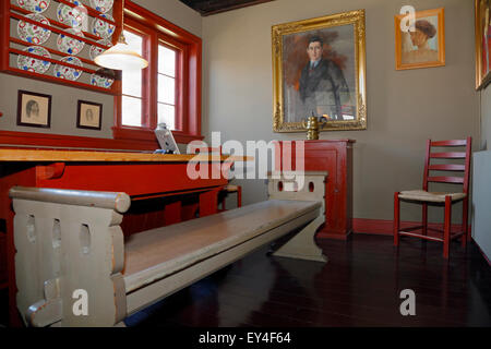 Kitchen-dining room in Knud Rasmussen's house in Hundested, North Sealand, Denmark - Stock Photo