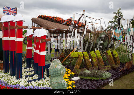 Garden exhibit at Tatton Park, Cheshire, UK 21st July, 2015.'The flower bed was created to provide a floral representation - Stock Photo