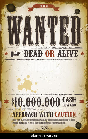 Wanted Poster Template with Bounty Reward Stock Photo 52334449 Alamy