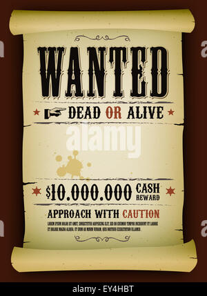 Wanted Poster Template with Bounty Reward Stock Photo, Royalty ...