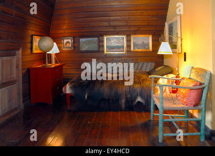 Knud Rasmussen's house in Hundested. Corner of the big study or workroom on the first floor. - Stock Photo