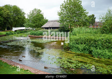 The River Sow Passing Through Victoria Park Stafford Staffordshire UK - Stock Photo