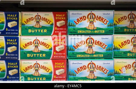 Packages of Land o' Lakes brand butter are seen in a refrigerated case in a supermarket in New York on Monday, July - Stock Photo