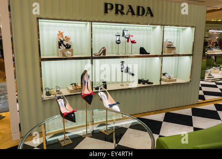 Paris, France, Prada Store Women's Accessories High Heels designer Shoes, on Display, Luxury Fashion Brands Shopping - Stock Photo