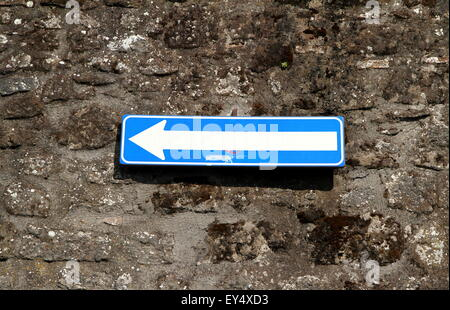 One Way road sign in Viterbo, Italy - Stock Photo