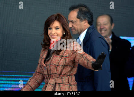 Buenos Aires, Argentina. 21st July, 2015. Argentine President Cristina Fernandez (front) attends the opening ceremony - Stock Photo