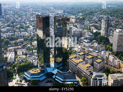 Deutsche Bank Twin Towers, view from the Main Tower, Frankfurt am Main, Hesse, Germany - Stock Photo