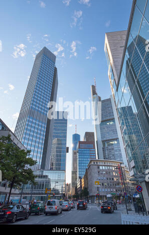 Neue Mainzer Straße street with Eurotower on the left, Financial District, Frankfurt am Main, Hesse, Germany - Stock Photo