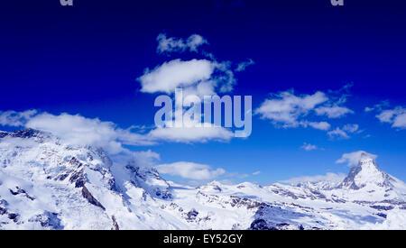 View of Matterhorn on a clear sunny day, Zermatt, Switzerland - Stock Photo