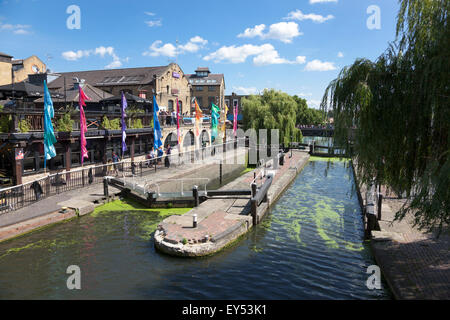 The Regent's Canal at Camden Lock, London, England, UK - Stock Photo