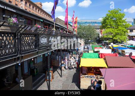 Outdoor food market at Camden Stables Market and Lockside Bar & Kitchen, London, UK - Stock Photo