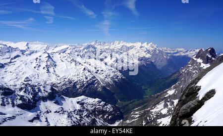 scenery of snow mountains valley Titlis, Engelberg, Switzerland - Stock Photo
