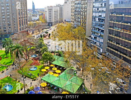 aerial view on Plaza Fabini Montevideo Uruguay - Stock Photo