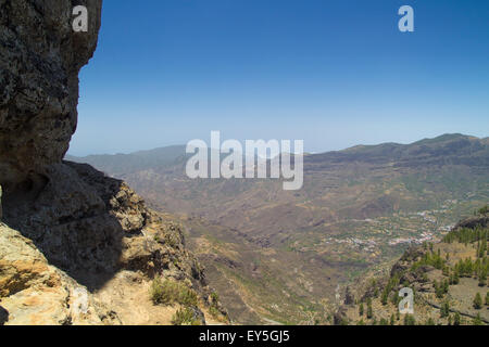 Inland Central Gran Canaria, view north  from Roque Nublo towards Artenara village - Stock Photo