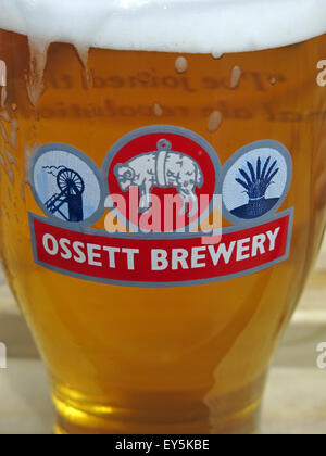 Glass of beer from the Ossett Brewery, Wakefield,Yorkshire,England,UK - Stock Photo