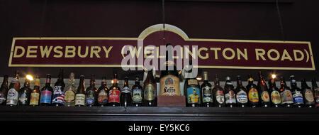 Dewsbury Railway Station Sign, Kirklees, Huddersfield,West Yorkshire,England,UK - Stock Photo