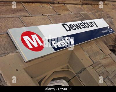 Dewsbury Railway Station Sign, Kirklees, Huddersfield,West Yorkshire,England,UK - Stock Photo